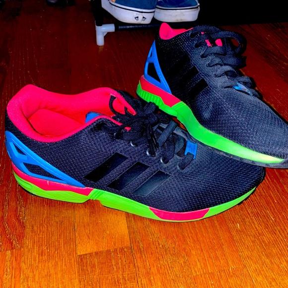 Adidas mens ZX Flux size 11 black neon pink, green